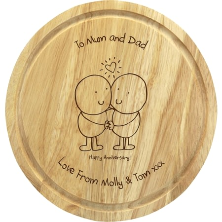 Personalised Chilli & Bubbles Anniversary Round Chopping Board