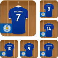 Personalised Leicester City FC Dressing Room Shirts Coasters Set of 6