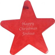 Personalised Red Soap Stone Star Shape Tree Decoration