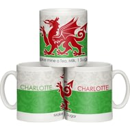 Personalised Shabby Chic Wales Flag Ceramic Mug