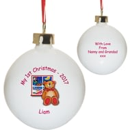 Personalised Teddy & Window Christmas Tree Ceramic Bauble