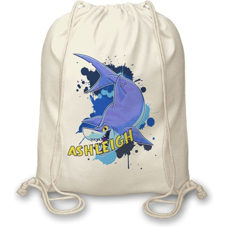 Personalised Underwater Adventure Shark Drawstring Bag