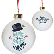 Personalised Dreaming of a White Christmas Tree Ceramic Bauble