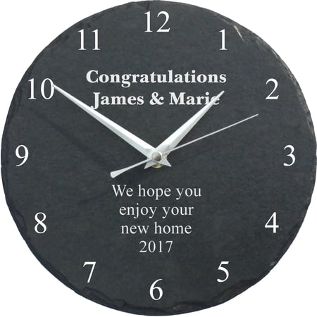 Personalised Engraved Slate Wall Clock - Any Message