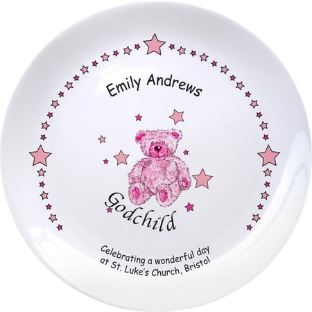 "Personalised Teddy & Stars Pink Godchild 8"" Plate"