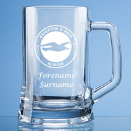 Personalised Brighton & Hove Albion FC Crest Stern Glass Pint Tankard