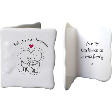 Personalised Chilli & Bubbles Baby's First Christmas Ceramic Message Card