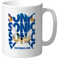 Personalised Modern Sonic The Hedgehog Text Mug