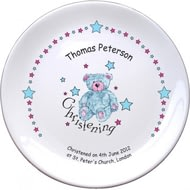 "Personalised Teddy & Stars Blue Christening 8"" Coupe Plate"