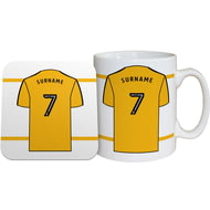 Personalised Wolves FC Shirt Mug & Coaster Set