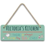 Personalised Always Time For Tea & Cake Hanging Sign