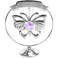 Personalised Engraved Crystocraft Hanging Butterfly Ornament with Purple Crystal