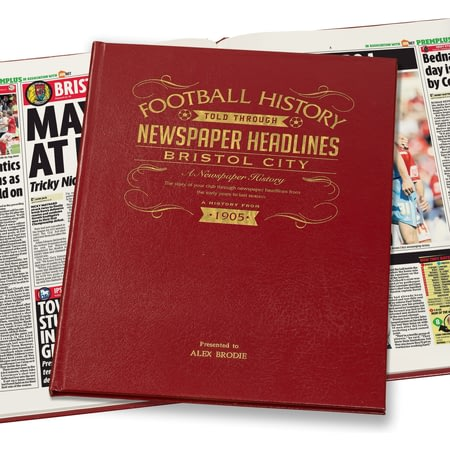 Personalised Bristol City Football Newspaper Book - Leather Cover