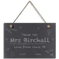 Personalised Teachers Chalkboard Hanging Slate Sign