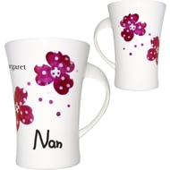 Personalised Pink Pansies Nan Twist Handle Ceramic Mug