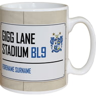 Personalised Bury FC Gigg Lane Stadium Street Sign Mug