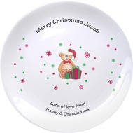 "Personalised Christmas Teddy & Hat 8"" Coupe Plate"