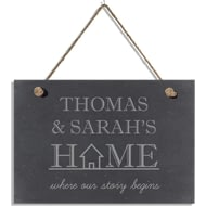 "Personalised ""Where Our Story Begins"" Slate Hanging Sign"