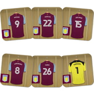 Personalised Aston Villa FC Goalkeeper Dressing Room Shirts Coasters Set of 6