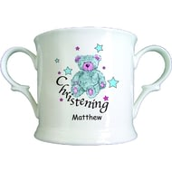 Personalised Teddy & Stars Blue Christening China Loving Cup