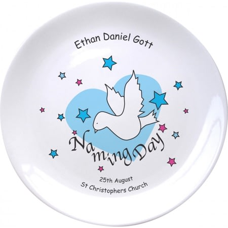 "Personalised Dove & Hearts Blue Naming Day 8"" Coupe Plate"