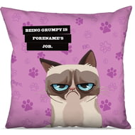 Personalised Grumpy Cat - Grumpy Is My Job Pink Cushion - 45x45cm