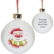 Personalised Santa & Stars Christmas Tree Ceramic Bauble