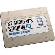 Personalised Birmingham City FC Street Sign Mouse Mat