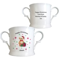 Personalised Christmas Teddy & Hat Bone China Loving Cup