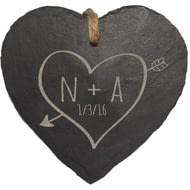 Personalised Sketch Heart Slate Hanging Heart