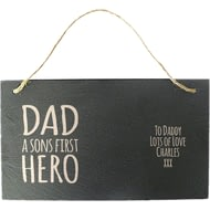 Personalised Sons First Hero Hanging Slate