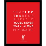 Personalised Liverpool FC Word Collage Framed Print