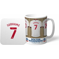 Personalised Bolton Wanderers Dressing Room Shirts Mug & Coaster Set