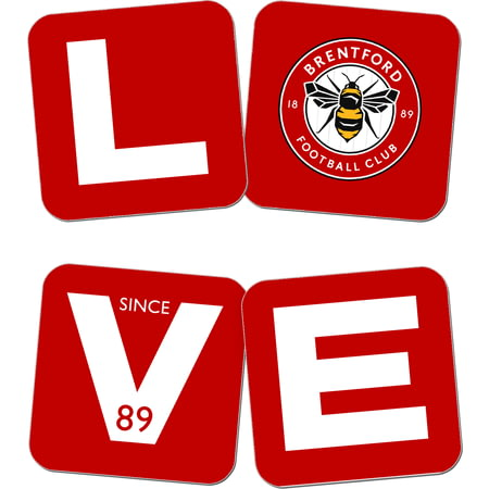 Personalised Brentford Love Coasters (x4)
