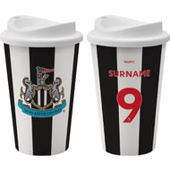 Personalised Newcastle United FC Back Of Shirt 350ml Reusable Tea / Coffee Cup