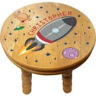 Personalised Space Rocket Wooden Stool