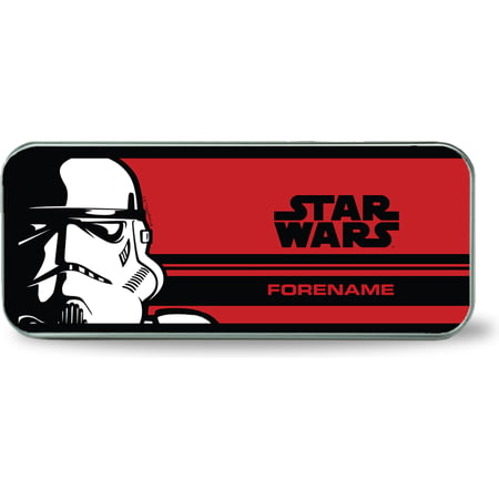 Personalised Star Wars Storm Trooper Pop Art Silver Pencil Tin