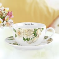 Personalised White Floral Tea Cup And Saucer