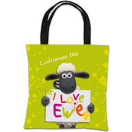 Personalised Shaun The Sheep Valentines Print Tote Bag
