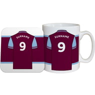 Personalised Aston Villa FC Shirt Mug & Coaster Set