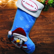 Personalised Blue Penguin Stocking With Name Plaque