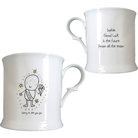 Personalised Chilli & Bubble's Leaving Half Pint Ceramic Tankard