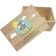 Personalised Elephant Safari Wooden Memory Box