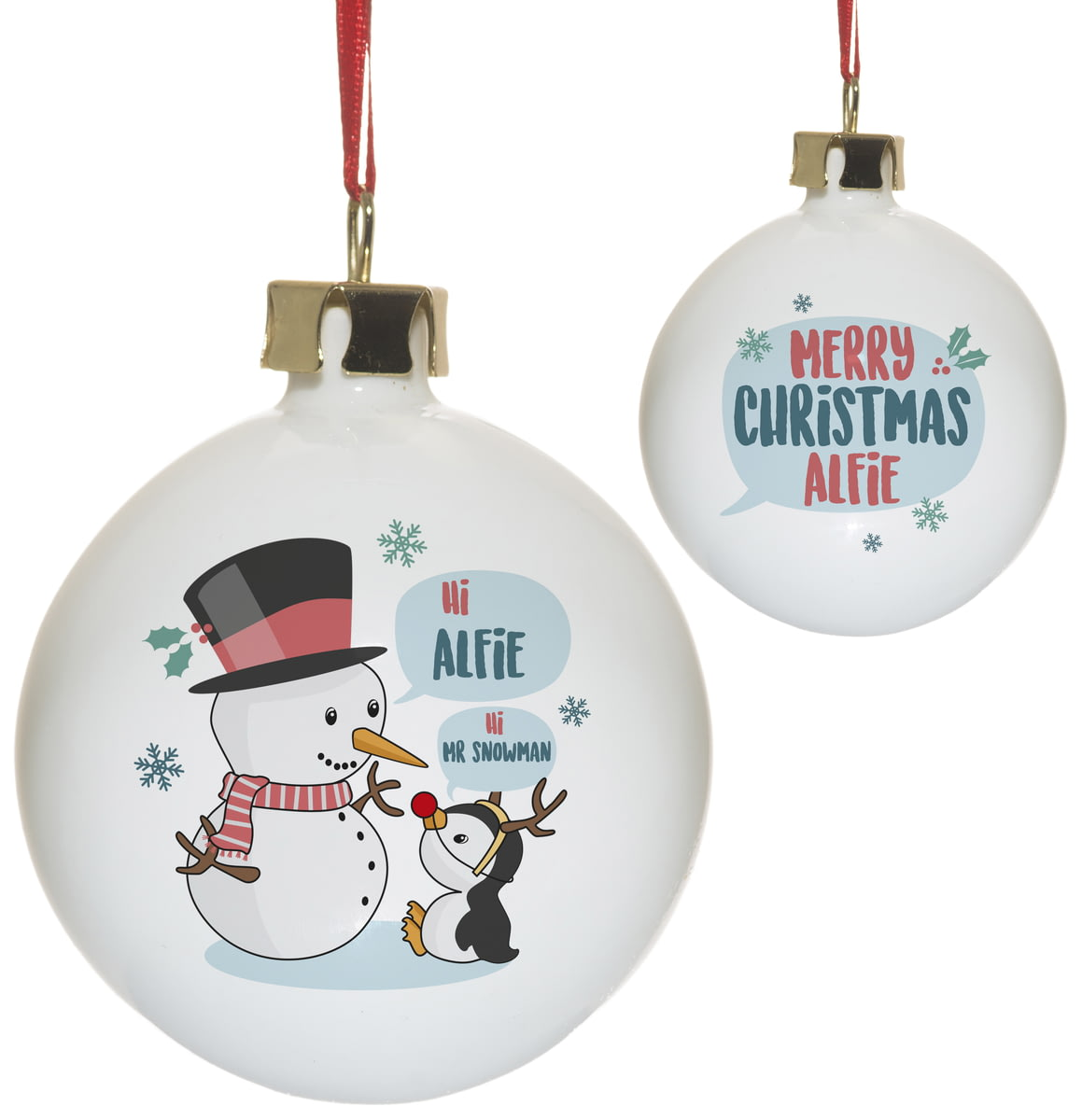 Personalised Mr Snowman Ceramic Christmas Tree Bauble