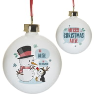 Personalised Mr Snowman Ceramic Christmas Tree Bauble