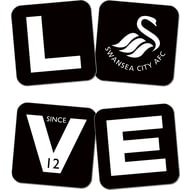 Personalised Swansea City AFC Love Coasters (x4)