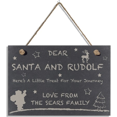 Personalised Treats For Santa Slate Hanging Sign