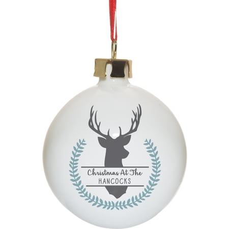 Personalised Christmas Stag Tree Bauble