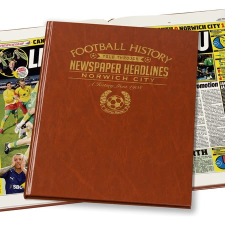Personalised Norwich City Football Newspaper Book - Brown Leatherette