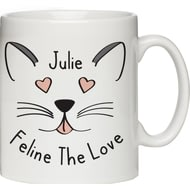 "Personalised ""Feline The Love"" Cat Themed Ceramic Mug"